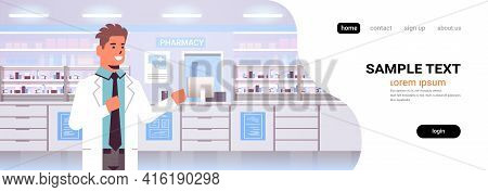 Smiling Male Doctor Pharmacist Modern Pharmacy Drugstore Interior Medicine Healthcare Concept Horizo