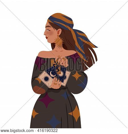 Gypsy Woman As Fortune Teller Holding Tarot Cards Predicting Future Or Performing Occult Ritual Vect