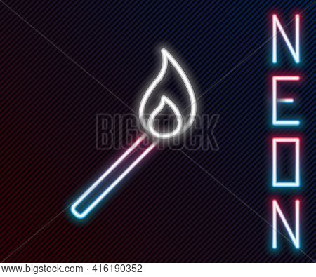 Glowing Neon Line Burning Match With Fire Icon Isolated On Black Background. Match With Fire. Matche