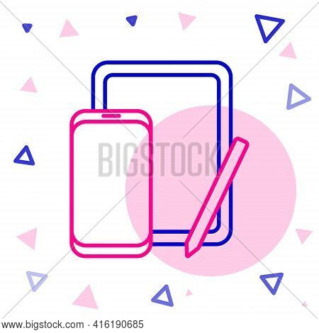 Line Smartphone, Mobile Phone And Graphic Tablet Icon Isolated On White Background. Colorful Outline