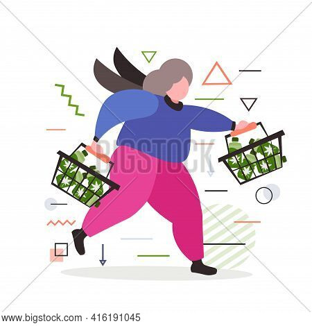 Smiling Man Running With Medical Cannabis Oil Cbd Cannabidoil Extract Bottles In Shopping Carts Mari