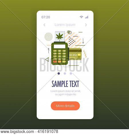 Pos Terminal And Credit Card Sale Of Medical Cannabis Marijuana Concept Drug Consumption Smartphone