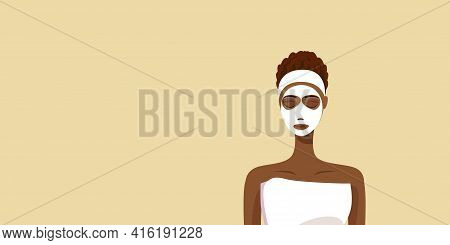 Young Woman Applying Face Mask Wrapped In Towel African American Girl With Clean Fresh Skin Skincare