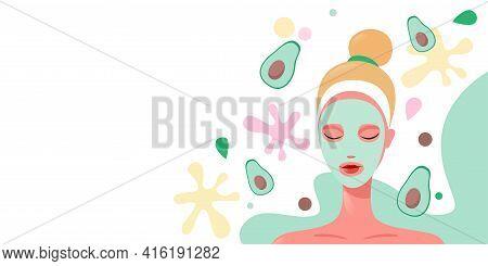 Young Woman Applying Fresh Fruits Face Mask Girl Having Facial Treatment With Kiwi Fruit Portrait Ho