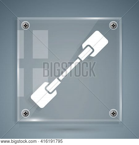 White Paddle Icon Isolated On Grey Background. Paddle Boat Oars. Square Glass Panels. Vector Illustr