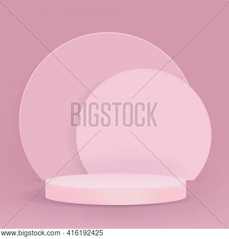 3D product backdrop with display podium in pink tone