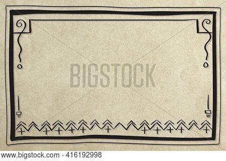 Simple boho doodle pattern border frame design