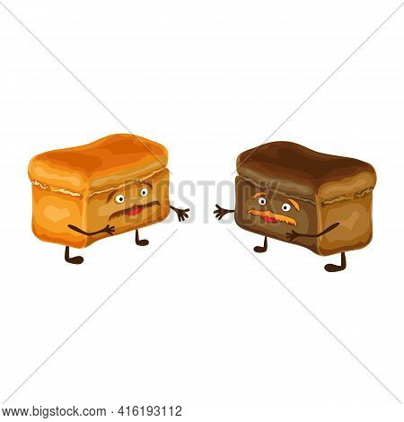 Funny Bread Characters Isolated. Two Happy And Cute Bread Friends With Mustache. Vector Illustration