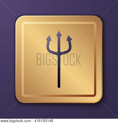 Purple Neptune Trident Icon Isolated On Purple Background. Happy Halloween Party. Gold Square Button