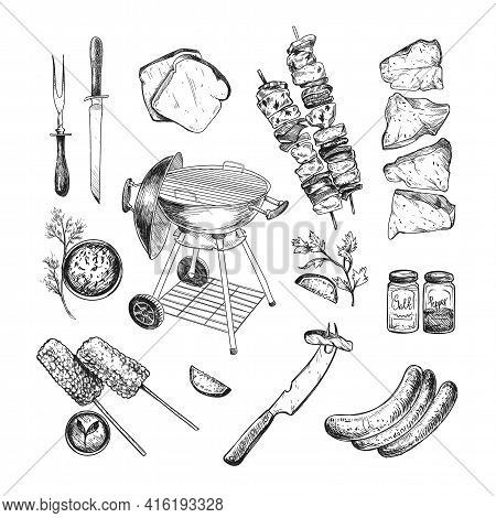 Food And Grill For Barbeque Engraved Illustrations Set. Hand Drawn Sketch Of Grill, Meat, Beef, Sauc