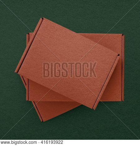 Kraft paper brown box product packaging with design space flat lay