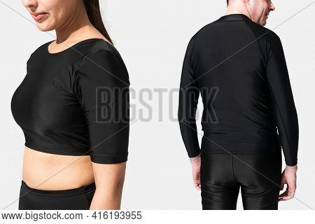 Black swimwear for summer apparel ad
