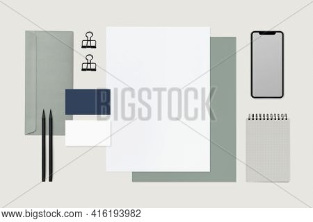 Corporate identity green stationery set with design space