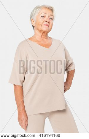 Women's nude blouse V neck casual apparel with design space