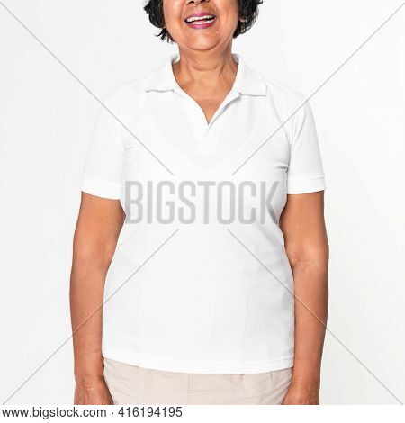 Woman in basic plus size white polo shirt with design space