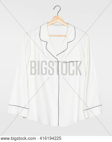 White pajama shirt front view simple nightwear apparel