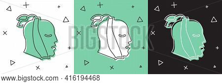 Set Toothache Icon Isolated On White And Green, Black Background. Vector