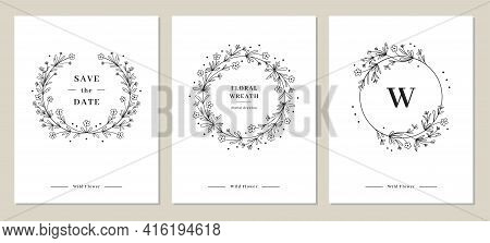 Wildflower Wreaths Card Set, Hand-drawn Wildflower Monogram, Vector Floral Frame. Vector Illustratio