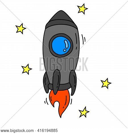 Spaceship In The Stars Or Rocket Ship With Fire Flat Line Icon In Color. New Project Starting, Start