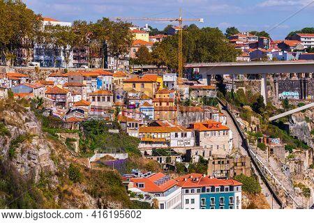 Porto, Portugal, October 06, 2018: Old Houses In Slope In The Historic Center Of The City, Porto, Po
