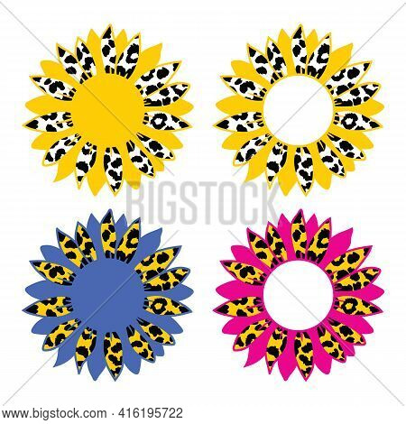 Vector Sunflower Leopard Print, Sunflower Cheetah Print