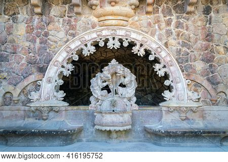 Ancient Drinking Fountain In Neo-gothic Style In A Public Park In Sintra, Portugal, October 04, 2018