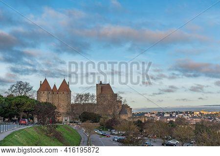 Carcassone, France - December 28, 2019: View Over The Historical Castle Carcassone - Cite De Carcass