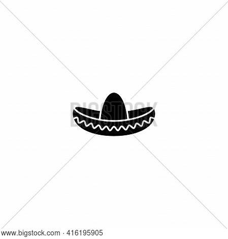 Sombrero, Mexican Hat Black Icon. Flat Logo Isolated On White. Vector Illustration. Cinco De Mayo Sy