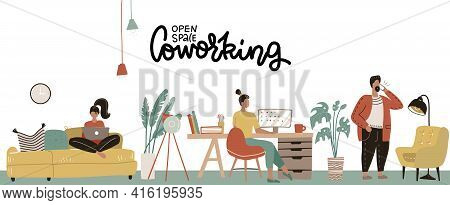 Concept Of The Coworking Center. Business Open Space. Freelancers Working In Creative Room. Modern O