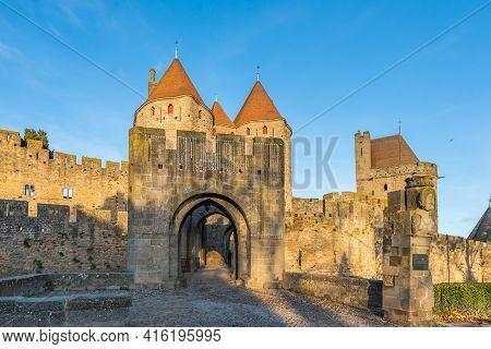 View To The Entrance With The Tower From The Historical Castle Carcassone- Cite De Carcassone At Sun