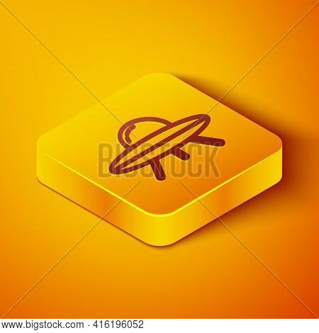 Isometric Line Ufo Flying Spaceship Icon Isolated On Orange Background. Flying Saucer. Alien Space S