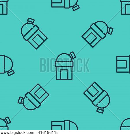 Black Line Astronomical Observatory Icon Isolated Seamless Pattern On Green Background. Observatory