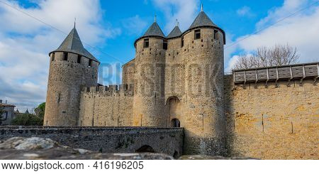 View To The Entrance With The Bridge And Tower From The Historical Castle Carcassone - Cite De Carca
