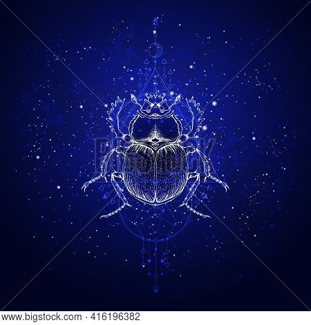 Vector Illustration With Hand Drawn Scarab And Sacred Geometric Symbol Against The Starry Sky. Abstr