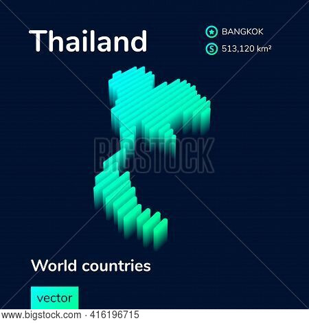 Stylized Neon Simple Digital Isometric Striped Vector Thailand Map, With 3d Effect.  Map Of Thailand