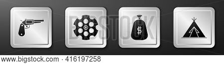 Set Revolver Gun, Revolver Cylinder, Money Bag And Indian Teepee Or Wigwam Icon. Silver Square Butto