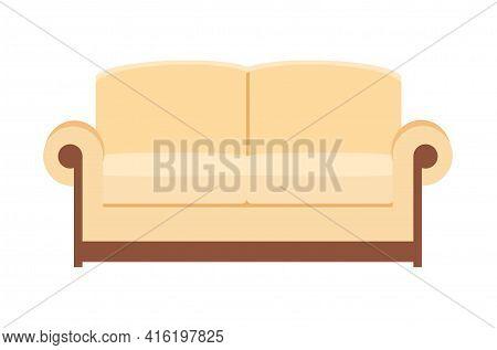 Beige Sofa Isolated On White. Sofa Icon For Interior House.