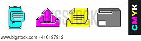Set Chat Messages Notification On Phone, Upload Inbox, Drawer With Document And Document Folder Icon