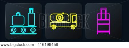 Set Isometric Airport Conveyor Belt With Suitcase, Suitcase And Fuel Tanker Truck Icon. Vector