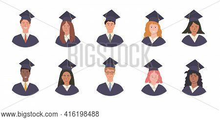 Big Vector Set Of Happy Multi Ethnic Graduated Students Avatars In Academic Gown And Cap. Pupil Grad