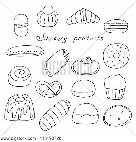 Set Of Pastries Buns And Desserts Vector Doodle Illustration Hand Drawing