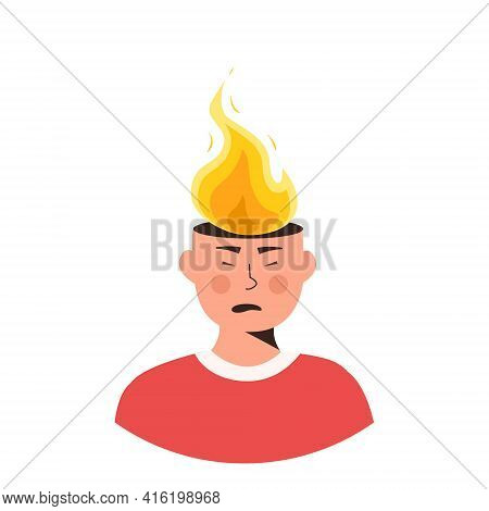 Male Character Head In Fire Vector Flat Illustration. Man Or Woman Feeling Stress At Work, Anger. Co