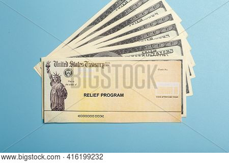 Usa Dollars Background. American Rescue Plan, Usa Relief Program, Stimulus Check And Act Of 2021 Con