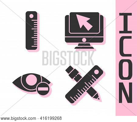 Set Crossed Ruler And Pencil, Ruler, Red Eye Effect And Computer Monitor And Cursor Icon. Vector