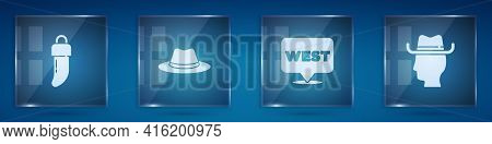 Set Tooth, Western Cowboy Hat, Pointer To Wild West And Cowboy. Square Glass Panels. Vector