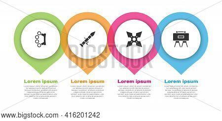 Set Brass Knuckles, Rocket Launcher, Japanese Ninja Shuriken And Military Mine. Business Infographic