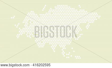 White And Yellow Hexagonal Pixel Map Of Eurasia. Vector Illustration Eurasian Continent Hexagon Map