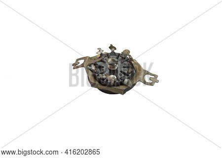 Pin Socket On Chassis-mount, 9-pin Connector For Vacuum Tube, Vintage Electronic Spare Part, Removed