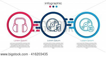 Set Line Headphones, Vinyl Disk And Vinyl Disk. Business Infographic Template. Vector