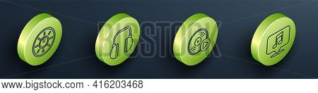 Set Isometric Dial Knob Level Technology Settings, Headphones, Vinyl Disk And Musical Note In Speech